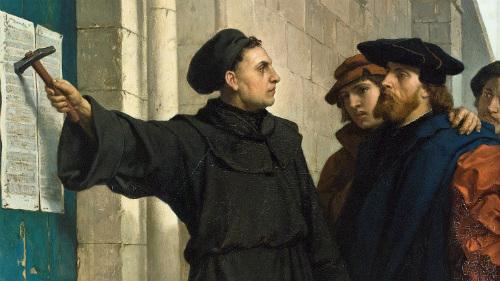 Luther zabija teze na vrata katedrale.