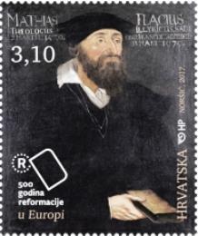 Poštanska marka s likom Matije Vlačića Ilirika.